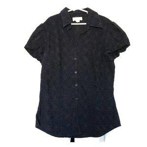 Ann Taylor Loft blue embroidered career blouse